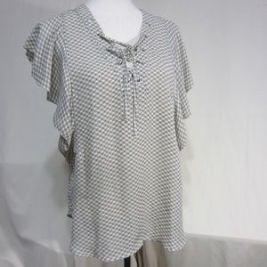A.N.A. NEW APPROACH Tops - A.N.A. SZ LARGE TAUPE/BLACK TOP RUFFLED SLEEVES